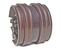 "2 1/4"" Wide BROWN Leather Wristband with Silver Buckles"