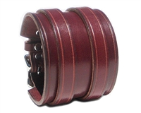 "2 1/4"" BURGUNDY RED Leather Wristband with SILVER Buckles"