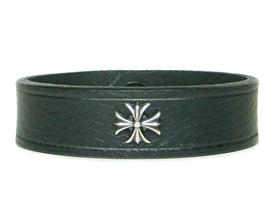 "Maltese Cross, Iron Cross Medallion 3/4"" BLACK Leather Wristband"