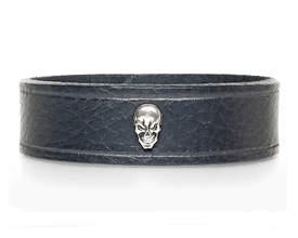 "Skull BLACK Leather Bracelet 3/4"" Wide"