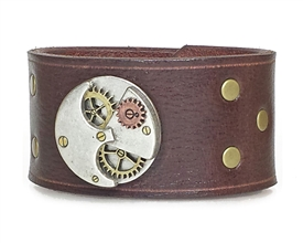 "Steampunk ROUND ""Gears"" 1 1/2"" Wide Brown Leather Cuff"