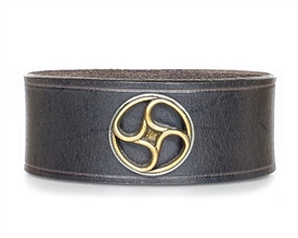 "Steampunk Wheel 1 1/4"" Brown Leather Wristband"