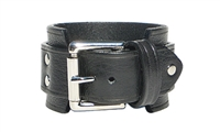 "Marquee 1 3/4"" Leather Buckle Cuff - Black leather"