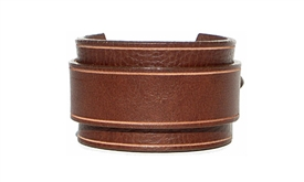 "Marquee 1 3/4"" Leather Buckle Cuff -Brown leather"