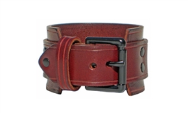 "1 3/4"" Wide BURGUNDY RED Leather Wristband"