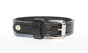 "1/2"" BLACK Leather Bracelet"