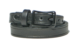 "1/2"" BLACK Leather DOUBLE WRAP Bracelet with BLACK Buckle"
