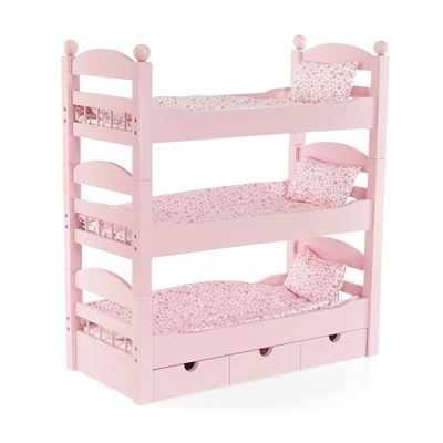 18-Inch Doll Furniture - Stackable Pink Triple Bunk Bed with Storage - fits American Girl ® Dolls