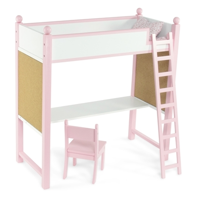 18-Inch Doll Furniture - Loft Bed and Desk Combo - fits American Girl ® Dolls