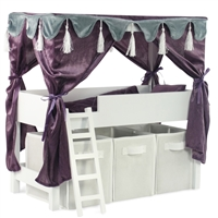 18-inch Doll Furniture - Lofted Canopy Bed with Storage and Ladder - fits American Girl ® Dolls
