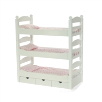 18-Inch Doll Furniture - Stackable Triple Bunk Bed with Storage - fits American Girl ® Dolls
