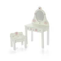 18-inch Doll Furniture - Painted Wood Vanity with Chair - fits American Girl ® Dolls