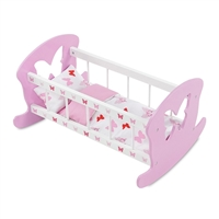 18-inch Doll Furniture - Butterfly Collection Cradle Bed (Includes Bedding) - fits American Girl ® Dolls