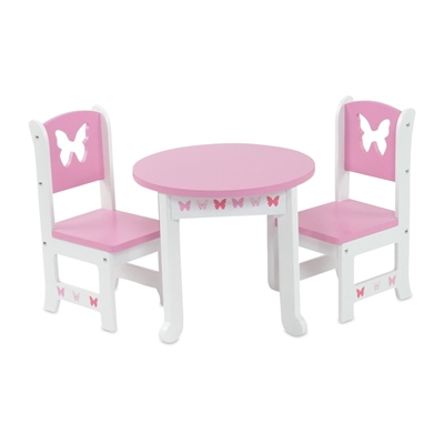 18-inch Doll Furniture - Butterfly Collection Table and 2 Chair Dining Set - fits American Girl ® Dolls