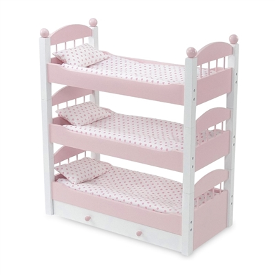 18-Inch Doll Furniture - Pink Stackable Triple Bunk Bed with Storage - fits American Girl ® Dolls