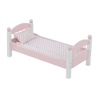 18-inch Doll Furniture - Pink Single Stackable Bed with Bedding - fits American Girl ® Dolls