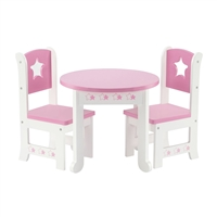 18-inch Doll Furniture - Star Collection Table and 2 Chair Dining Set - fits American Girl ® Dolls