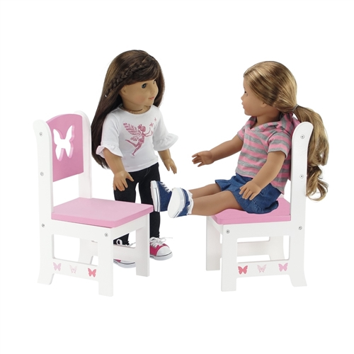 18 Inch Doll Furniture Butterfly Collection 2 Chair Dining Set