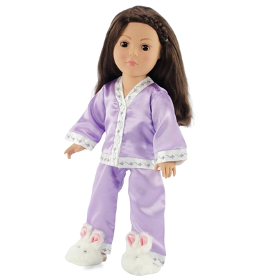 18-inch Doll Clothes - Purple Satin Pajamas/PJs with Matching Slippers - fits American Girl ® Dolls