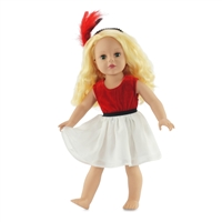 18-inch Doll Clothes - Red and White Dress with Feather Outfit - fits American Girl ® Dolls
