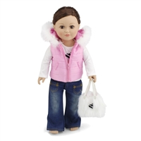 18-inch Doll Clothes - Pink Hooded Vest with Long Sleeved T-shirt Skinny Jeans and Purse - fits American Girl ® Dolls