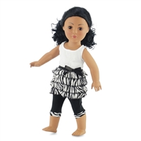 18-inch Doll Clothes - Zebra Print Ruffled Skirt with Top and Capri Leggings - fits American Girl ® Dolls