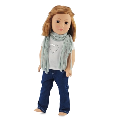 18-inch Doll Clothes - Jeans with White Shirt and Scarf Outfit - fits American Girl ® Dolls
