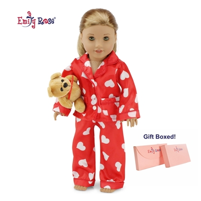 18-inch Doll Clothes - Red Heart Style Pajamas/PJs plus Teddy Bear - fits American Girl ® Dolls