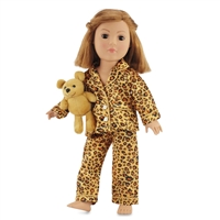 18-inch Doll Clothes - Cheetah Style Pajamas/PJs plus Teddy Bear - fits American Girl ® Dolls