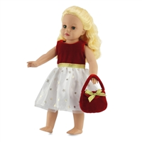 18-inch Doll Clothes - Red Holiday Dress with Purse - fits American Girl ® Dolls
