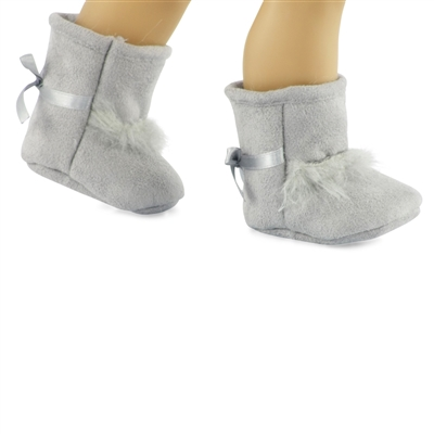 18-inch Doll Shoes - Gray Fur Boots - fits American Girl ® Dolls