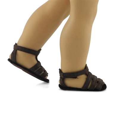 18-inch Doll Shoes - Brown Strap Sandals - fits American Girl ® Dolls