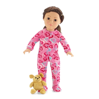 18-inch Doll Clothes - One Piece Footed Pink with Hearts Pajamas/PJs plus Teddy Bear - fits American Girl ® Dolls