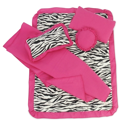 18-Inch Doll Accessories - Reversible Zebra Print Bedding Set with Comforter, 3 Pillows and Sheet - fits American Girl ® Dolls