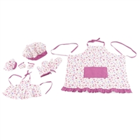 18-Inch Doll Clothes - Girl and Doll Matching Pink Floral Baking Outfits with Apron, Oven Mittens and Chef Hat - fits American Girl ® Dolls