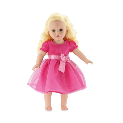18 Inch Doll Clothes - Pink Party Dress with Bow and Jewel Detail - fits American Girl ® Dolls