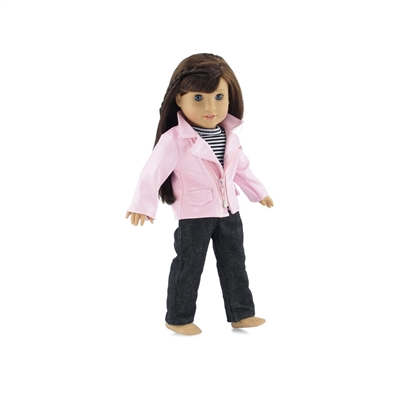 18-Inch Doll Clothes - Pink Leather Jacket Outfit with Jeans and T-Shirt - fits American Girl ® Dolls