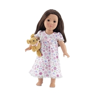 18 Inch Doll Clothes - Ruffled Pink Floral Nightgown with Teddy Bear - fits American Girl ® Dolls