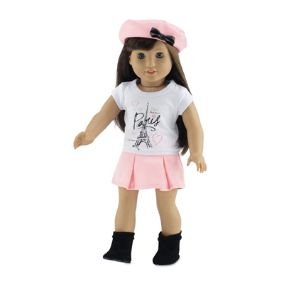 18-Inch Doll Clothes - Eiffel Tower Paris Graphic T-Shirt and Pleated Skirt Outfit - fits American Girl ® Dolls