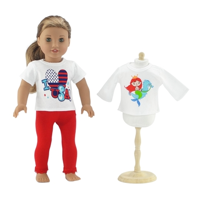 18-Inch Doll Clothes - 2 T-Shirts and Red Leggings Bundle - fits American Girl ® Dolls
