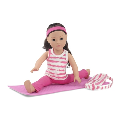 18-Inch Doll Clothes - Pink and White Yoga/Pilates Exercise Outfit with Yoga Mat - fits American Girl ® Dolls