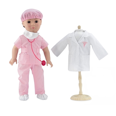 18-Inch Doll Clothes - Doctor/Nurse Hospital Pink Scrubs Outfit with White Doctor's Coat - fits American Girl ® Dolls