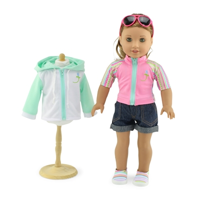 18-Inch Doll Clothes - Seven-Piece Swim Surf Swimsuit Outfit - fits American Girl ® Dolls