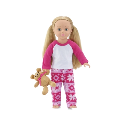 18-Inch Doll Clothes - Snowflake Print Two-Piece Pajamas/PJs with Teddy Bear - fits American Girl ® Dolls