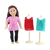 18 Inch Doll Clothes - Black Skinny Jeans with 3 Shirts - fits American Girl ® Dolls