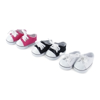 18 Inch Doll Clothes - 3 Pair (Pink, White, and Black) Sneakers - fits American Girl ® Dolls