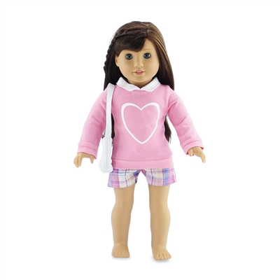 18 Inch Doll Clothes - Plaid Shorts Outfit with Sweater and Purse - fits American Girl ® Dolls