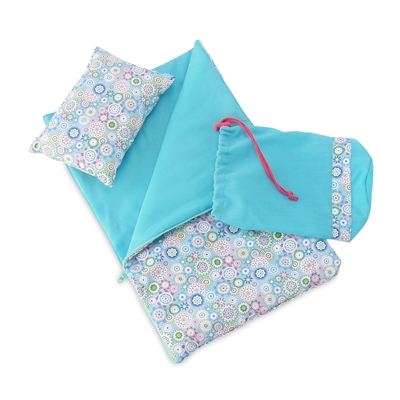 18-Inch Doll Accessories - Reversible Flower Print Sleeping Bag Set - fits American Girl ® Dolls