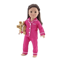 18-inch Doll Clothes - Pink and White Classic 2-Piece Pajamas/PJs with Teddy Bear - fits American Girl ® Dolls