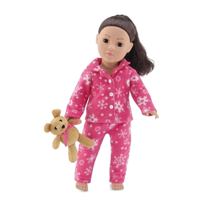 18-inch Doll Clothes - Pink Snowflake Print 2-Piece Classic Pajamas/PJs with Teddy Bear - fits American Girl ® Dolls